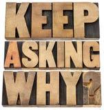 Keep que pergunta porque Imagem de Stock