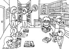 Keep quiet in the library. Drawing a librarian telling student to be quiet in the library coloring page vector illustration