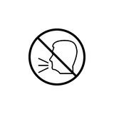 Keep quiet line icon, no speak prohibition sign. Forbidden keep silence, vector graphics, a linear pattern on a white background, eps 10 stock illustration