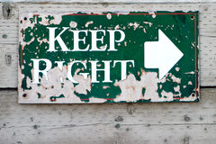 'Keep Right' Sign Royalty Free Stock Images
