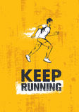 Keep Running. Active Sport Motivation Print Concept. Creative Vector Illustration On Grunge Wall Background. Royalty Free Stock Photo