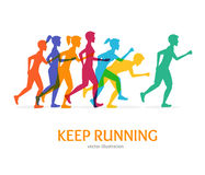 Keep Running Card. Vector. Keep Running Card Runner Color People Silhouette on a White Background Athletes Run in Competition. Vector illustration Stock Images