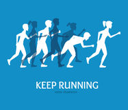 Keep Running Card. Vector. Keep Running Card Runner People Silhouette on a Blue Background Invitation to Training, Marathon. Vector illustration Royalty Free Stock Photos