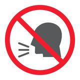 Keep silence glyph icon, prohibition and forbidden. No sound sign vector graphics, a solid pattern on a white background, eps 10 vector illustration