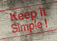 Keep it simple. Concept text is painted on old fashion wall Stock Images