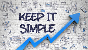 Keep IT Simple Drawn on White Brickwall. 3d. Stock Images