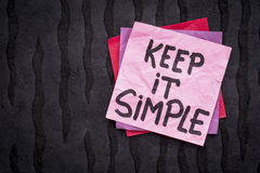 Keep it simple reminder or advice Royalty Free Stock Image