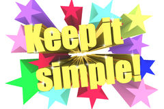 Keep It Simple slogan. Golden text with vivid stars Royalty Free Stock Photography