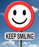 Keep smiling. Smiley road sign being happy royalty free illustration