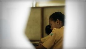 Keep Studying Hard at Temporary School in Evacuation Barracks After Eruption of Merapi Mountain stock image