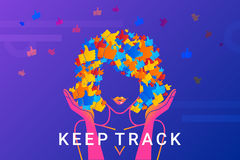 Keep track concept illustration of networks addicted young woman Stock Photography