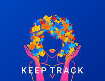 Keep track concept illustration of networks addicted young woman Royalty Free Stock Photography