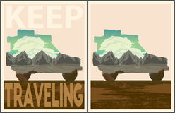 Keep traveling poster collection Stock Images