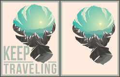 Keep traveling poster collection. Keep traveling illustration with double exposure effect Stock Photos