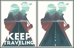 Keep traveling poster collection. Keep traveling illustration with double exposure effect Royalty Free Stock Photos