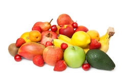 Keep of various fruits. Isolated on white background Royalty Free Stock Photos