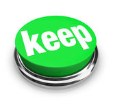 Keep Word Green 3d Button Retain Hold Onto Collect Hoard Royalty Free Stock Photography