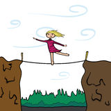 Keep your balance. Girl on a slackline. Stock Photography