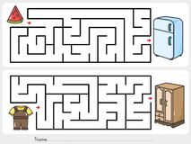 Keep your belongings. Find the way to closet and fridge. - Worksheet for education. Maze game: Keep your belongings. Find the way to closet and fridge royalty free illustration