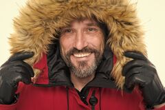 Free Keep Your Head Snug In Cosy Hood. Happy Man Wear Parka Hood. Mature Man Smile In Faux Fur Hood. Fashion Trends For Stock Photos - 203533263