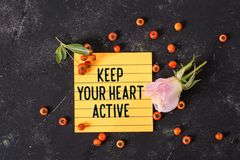 Keep your heart active text in memo royalty free stock images