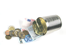 Keep your savings safe. A can with some savings royalty free stock photos