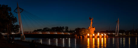 Keeper of the plains at night with the ring of fire in Wichita Kansas stock photos