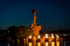 Keeper of the plains and the ring of fire in Wichita Kansas royalty free stock image