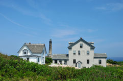 Keeper's House. Keeper's housing on Thacher Island in Rockport, Massachusetts, with the North tower in the background royalty free stock images