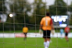 Keeper at a soccer match Royalty Free Stock Images