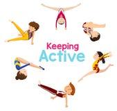 Keeping active logo with gymnastics athlete. Illustration vector illustration