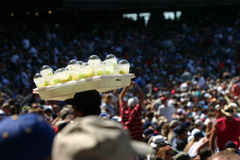 Keeping a cool head. A vendor at a hot summer ball game has the right idea Royalty Free Stock Photos