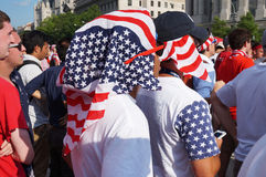 Keeping Cool. Photo of fan wearing american flags on their heads at freedom plaza in washington dc during the world cup soccer game pitting belgium against the Stock Photo