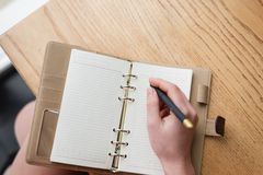 Keeping a diary. Record important dates and typed in a notebook. Write in a notebook the most important events and dates. Keeping a daily calendar. Entries in a stock photos