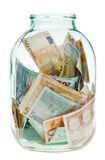 Keeping euro money in glass jar Royalty Free Stock Photography