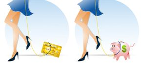Keeping Finances on a Leash. An illustration featuring your choice of images as a metaphors for controlling finances - a credit card and piggy bank on leashes Royalty Free Stock Image