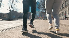 Keeping fit with everyday morning jog stock video footage