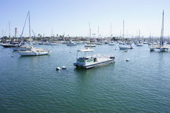 Keeping Harbor Clean. Speed boats on the sea water parked to maintain the cleanliness of the harbor Stock Photography