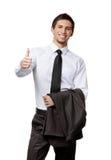 Keeping his jacket man thumbs up Stock Photos
