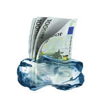 Keeping money Frozen In Royalty Free Stock Images