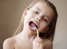 Keeping my teeth in tip-top shape royalty free stock photo