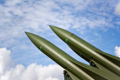 Keeping The Peace. Photograph of two missiles aimed towards the sky during peace time Royalty Free Stock Images