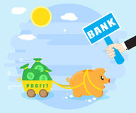 Keeping profits, wealth in the bank. Reliable preservation of savings. Happy pig piggybank keeps money in the bank Royalty Free Stock Photography