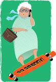 Keeping up with youngsters. Cute cartoon senior woman riding a longboard and talking on a cellphone, vector illustration, EPS 8 Royalty Free Stock Photo