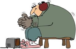 Keeping Warm. This illustration depicts a man bundled up and trying to keep warm with a small electric heater Stock Images