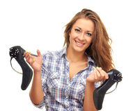 Keeps shoes. Smiling woman isolated on white background keeps shoes Royalty Free Stock Photography