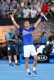 14 keer de Kampioen Novak Djokovic van Grand Slam van Servië viert overwinning na zijn halve finalegelijke bij het Australian Ope royalty-vrije stock afbeeldingen