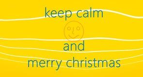 Keer kalm concept Vrolijke Kerstkaart op gele achtergrond met witte lijnen Royalty-vrije Stock Afbeelding