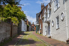 Keere Street in Lewes, East Sussex. A view of the pretty Keere Street in the historic town of Lewes in East Sussex, UK Stock Image