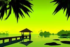 Keerkringen, vakantie op het strand op overwaterbungalow 3d geef terug royalty-vrije illustratie